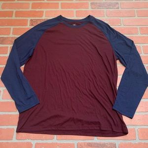 Navy Maroon Men's Long Sleeve Baseball Tee